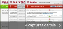 Colagem de capturas de tela para McAfee Security Scan Plus